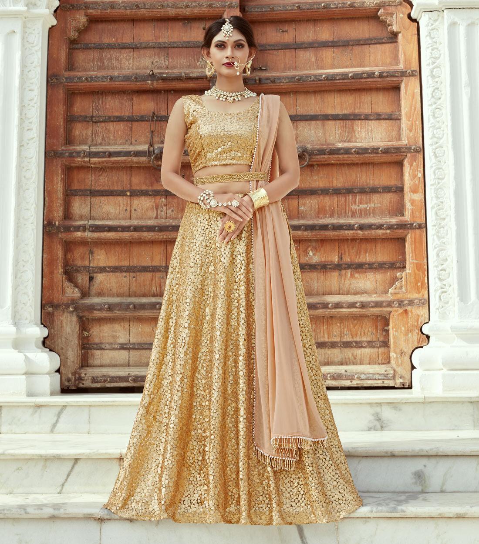 goldEN INDIAN DESIGNER WEDDING NET LEHENGA ZARI WORK LENGHA PARTY LEHENGA CHOLI