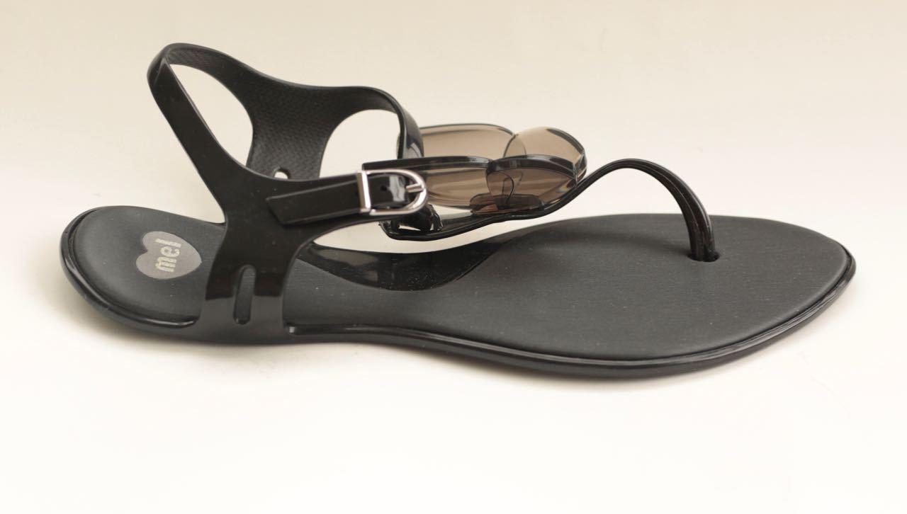 Melissa schwarz rubber t-strap Sandales with butterfly detail Größe IT36/UK3/UD6