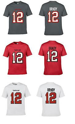 NWT New Brady #12 Tampa Bay White Custom Football T-Shirt Jersey No Logos Mens