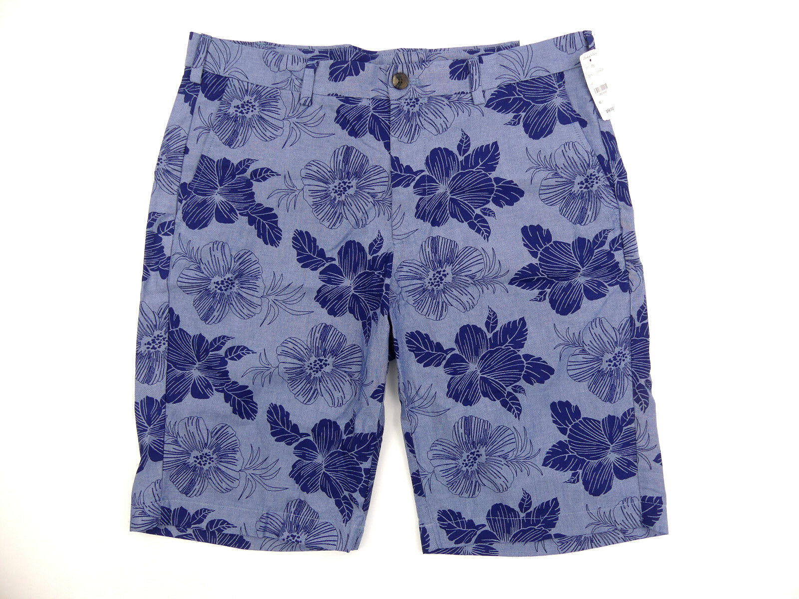 Brooks Bredhers Mens Shorts Size 35 bluee Hawaiian Floral Pattern 08A08