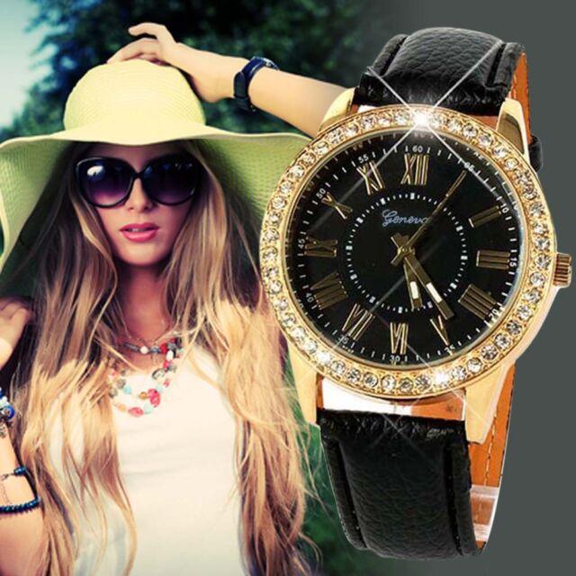 Luxury Fashion Women Watches Stainless Steel Analog Leather Quartz Wrist Watch