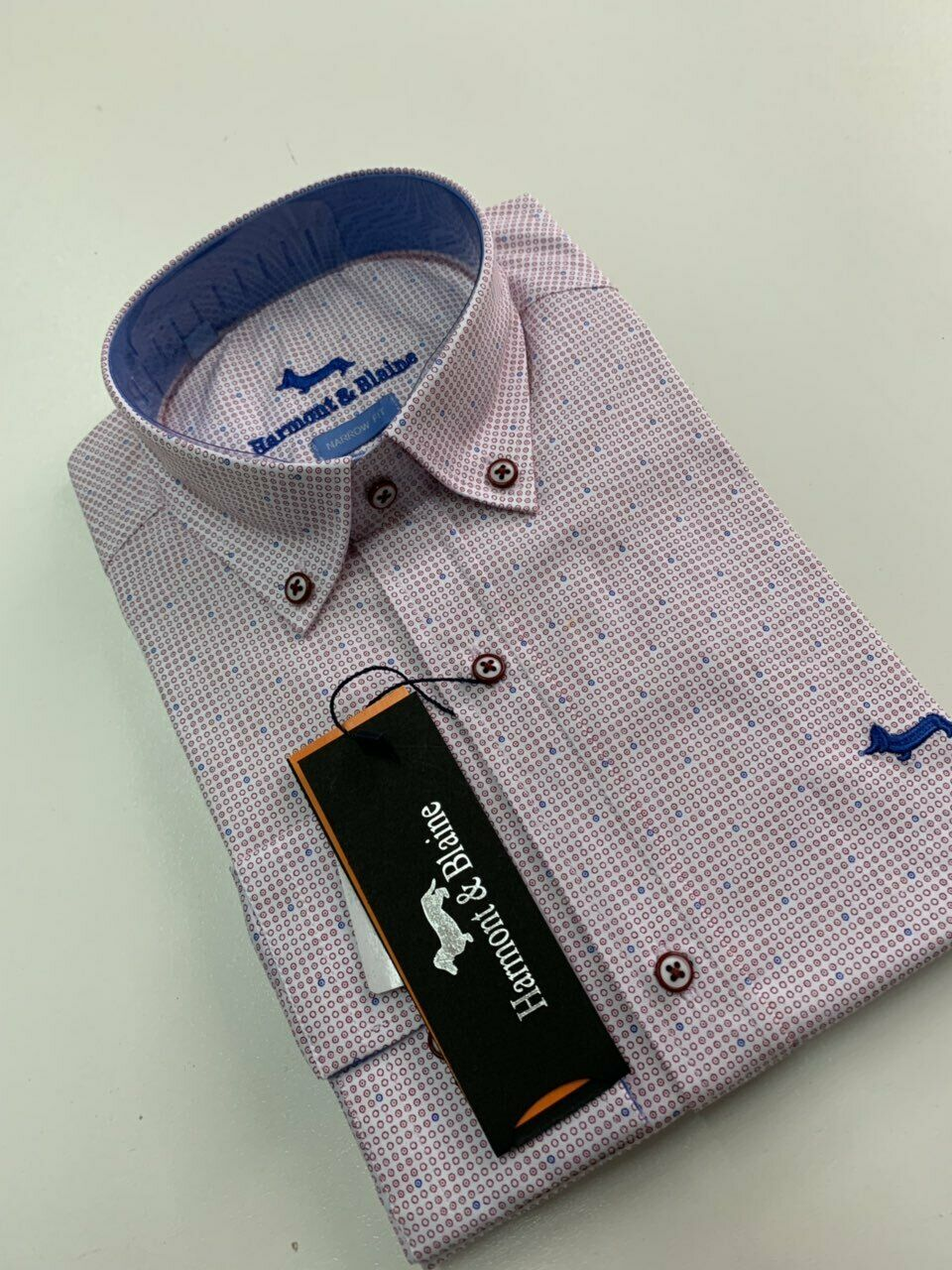 New Men Harmont and Blaine Shirt Pink With White bluee Dots - Size XXXL