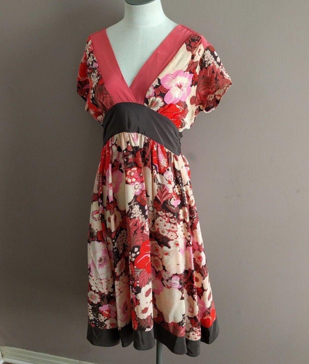 Corey Lynn Calter Anthro Woherren Sz 2 Rosa Floral Kimono Style Dress Silk Shift