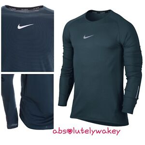 Analytical Nike Aeroreact Men's Long Sleeve Thumb Holes Running Top Green/black Men's Clothing Activewear