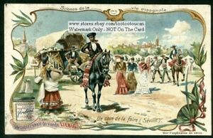 At-The-Fair-In-Seville-Spain-Horses-c1904-Trade-Ad-Card