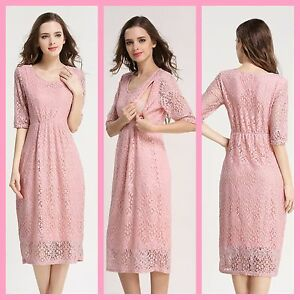 a0f5cf69221d6 Image is loading NEW-PINK-LACE-MATERNITY-BREASTFEEDING-NURSING-DRESS-SIZE-