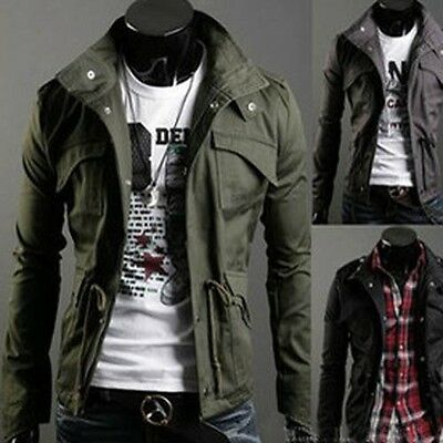 Stylish Solid Color Stand Collar Jacket Coat for Men