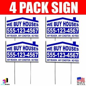 4x We Buy Houses Yard Bandit Signs Your Phone Number Real Estate Marketing Ebay