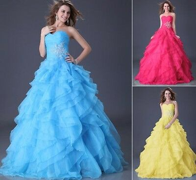 Strapless Long Quinceanera Party Evening Prom Gown Bridesmaid Ball Formal Dress