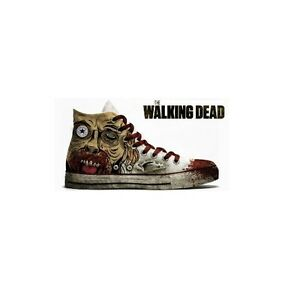 Converse Painted The Walking Dead Face Blood Alte Bianche White Hi Customized