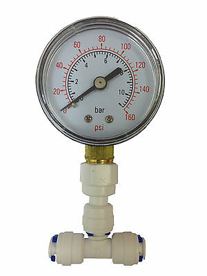 "Pressure Gauge for Aquarium RO Reverse Osmosis System fits 6mm 1/4"" water pipe"