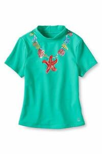 Girls' Clothing (newborn-5t) Clothing, Shoes & Accessories Lands' End Girls' 3t Mint Graphic Shell Neckace Rashguard Swim Shirt Nwt Good Reputation Over The World