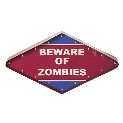 Metal Red and Blue BEWARE OF ZOMBIES LED Sign * Halloween Boy Teenage Bedroom