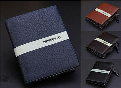 Fashion Men's Bifold Leather Wallet Card/ID Holder Billfold Zip Coin Purse New