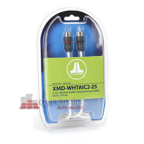 2-Channel White Color RCA Boat Amp Cable JL AUDIO XMD-WHTAIC2-25 Marine 25 ft