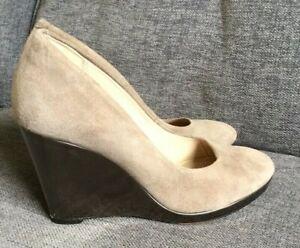 Clarks-Shoes-5-5D-Court-High-Heel-Work-Grey-Smart-Office-Wedge-Evening-Suede