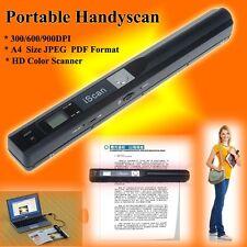 US! Portable HandHeld HD Scanner 900DPI iScan Wireless Color Scanner A4 JPG PDF