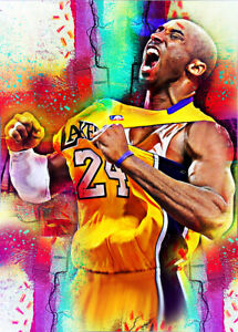 2021-Kobe-Bryant-Los-Angeles-Lakers-5-25-Art-ACEO-Sketch-Print-Card-By-Q