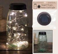 Solar-powered Lid Of Angel Tears Led Lights And Green Quart Mason Jar Hg
