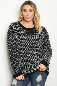 Plus-Size-Women-039-s-Fashion-Top-Long-Sleeve-Black-White-Crochet-Style
