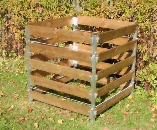 Alu-Holz Komposter 90 x 90 x 100 Kompostbehälter Gartenkomposter Holzkomposter