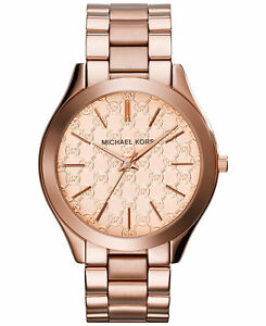 79bb09576eaa Michael Kors MK3336 Slim Runway Monogram Rose Golden Watch 42mm for ...