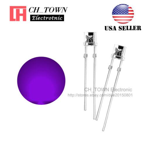100PCS 5mm Flat Top Water Clear Purple//UV Light Wide Angle 120Deg LED Diodes USA