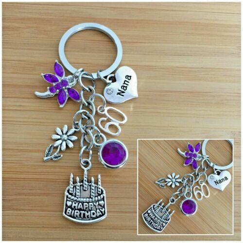 60th BIRTHDAY Gifts Charm Keyring for Mum Nan Nana Grandma Nanny Gift for her