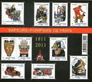 FEUILLET-N-F4582-NEUF-XX-LUXE-SAPEURS-POMPIERS-DE-PARIS