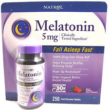 Natrol MELATONIN 5 mg - 250 Fast Dissolve Strawberry Flavor Tablets - Sleep Aid