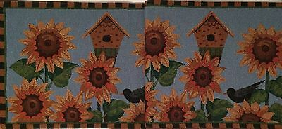Sunflower Medley Blue Birdhouse Crow Tapestry Table Runner 13x72