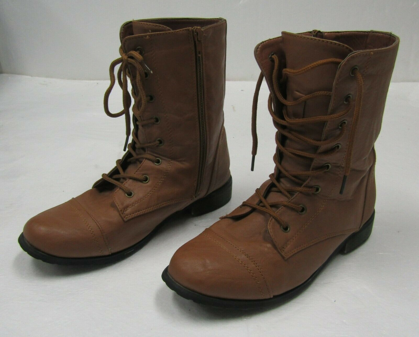 Brown Combat Leather boots lace zip CA Collection by Carrini Size 7.5