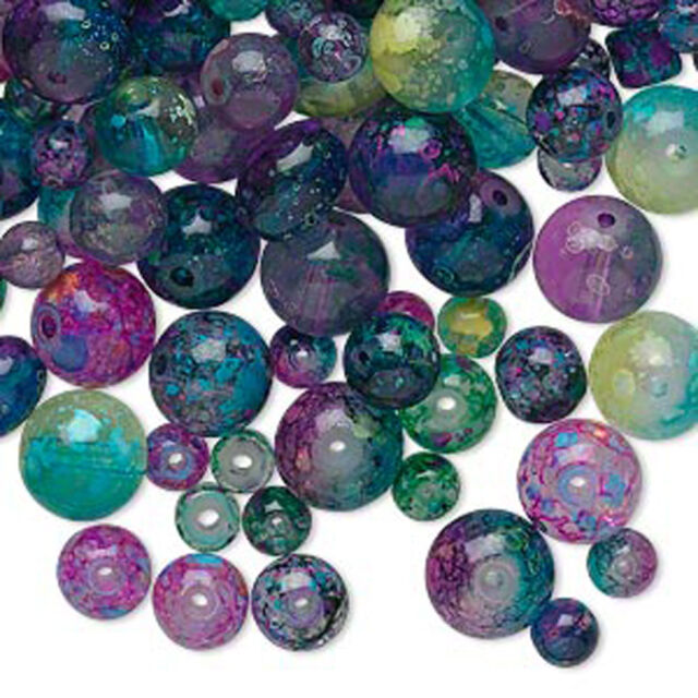 BULK 600 + Jewel Glass Beads Assorted Color Mixed Sizes & Shapes 4mm - 8mm