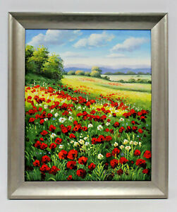 Hills of Red Poppy Fields   20 x 24 Art Oil Painting on Canvas w/Custom Frame