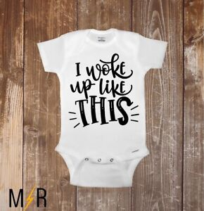 d44cddf3c824a Details about Baby Onesie, I woke up like this, Newborn, Shower gift, baby,  Funny, Gerber