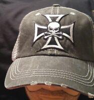 Skull in Cross Biker Ball Cap hat Cotton Mesh Trucker Hat