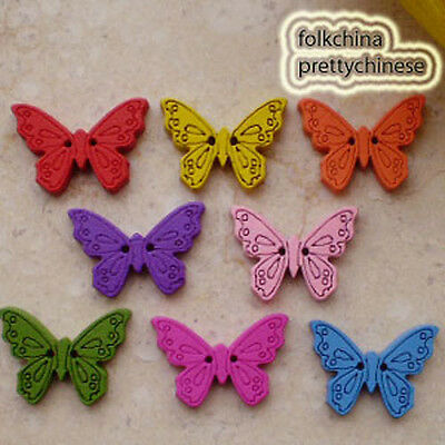 50 x Mixed New Butterfly 22mm Wood Buttons Sewing Scrapbooking Craft Cardmaking