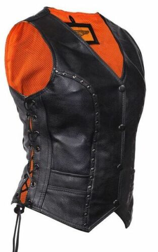 WOMEN/'S MOTORCYCLE CLASSIC BIKER STUDED LACE SIDE VEST WITH 2 GUN POCKETS INSIDE