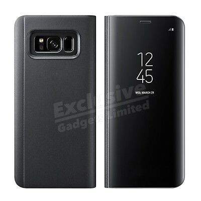 Samsung Galaxy S7 S8+ S9 Note Smart View Mirror Leather Flip Stand Case Cover