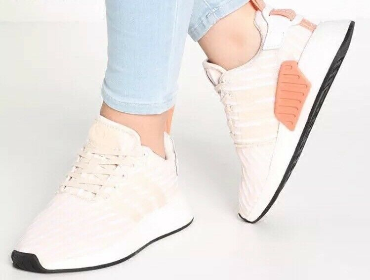 Adidas NMD R2 PK Primeknit Linen Beige Khaki Tan Pink Women's Shoes BA7260 Sz 9