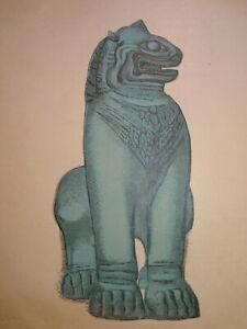 Paul-JOUVE-1878-1973-RARE-GRAVURE-BOIS-LION-d-039-ANGKOR-ANIMAL-ART-DECO-LOTI-1930