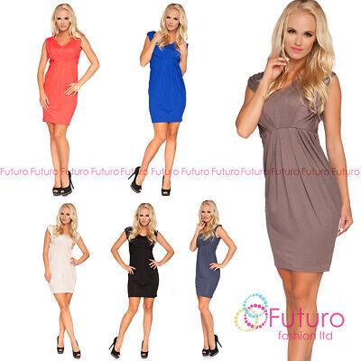 Ladies Bubble Dress Knee Lenght V Neck Short Sleeve Party Tunic Sizes 8-18 FM05