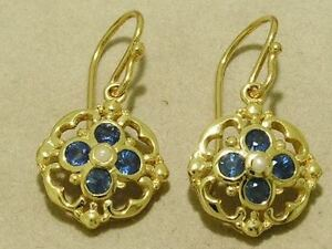 E024-Genuine-SOLID-9ct-Gold-NATURAL-SAPPHIRE-amp-PEARL-Blossom-Drop-Earrings
