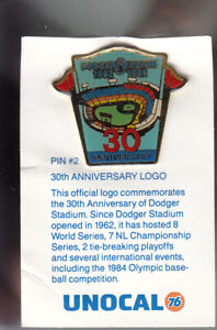 VINTAGE-L-A-DODGERS-UNOCAL-PIN-UNUSED-30TH-ANNIVERSARY-OFFICIAL-LOGO