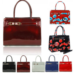 Women s Poppy Flower Designer Patent Tote Bags Shoulder Handbags ...