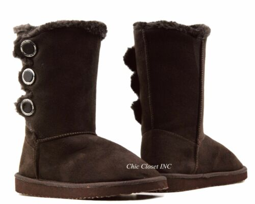 Womens Faux Fur Shealing Warm Fuzzy Winter Mid Calf Tall Snow Slip On Boots Shoe