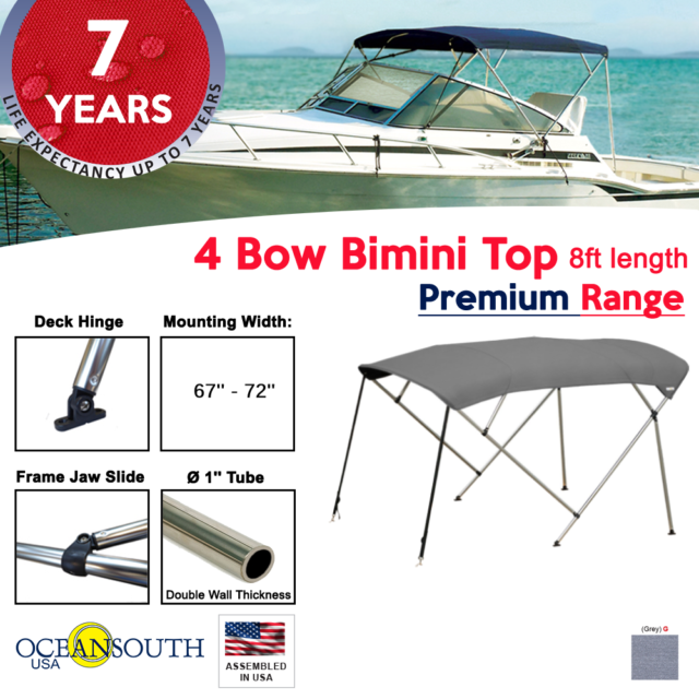 "Bimini Top 4 Bow 67/"" 72/"" Wide 8ft Long Grey PREMIUM RANGE With Rear Poles"