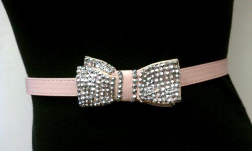 Light Pink Skinny Elegant Woman Design Belt With Double Rhinestones Ribbon