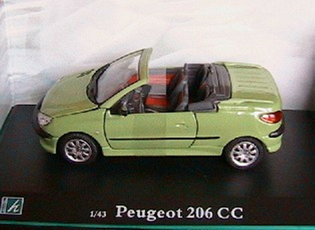 PEUGEOT 206 CC CABRIOLET green green green CLAIR 1 43 OLIEX ROADSTER CABRIOLET COUPE CARARAMA ae778d
