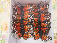 """12 Polyester 1.5"""" Craft Monarch Butterfly w/Wire/Floral Decoration L68-Orange"""